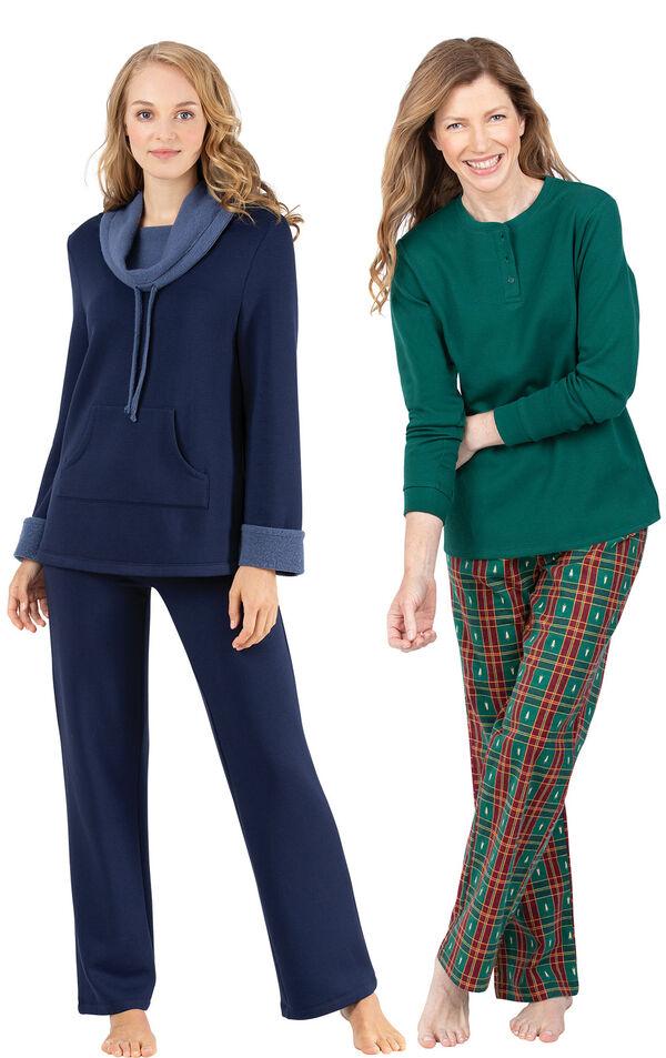 Models wearing Christmas Tree Plaid Pajamas and World's Softest Pajamas - Navy. image number 0