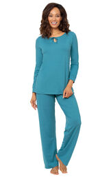 Addison Meadow PajamaGram Naturally Nude Long Sleeve Pajamas - Teal image number 0
