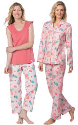 Models wearing Margaritaville Hibiscus Boyfriend Pajamas - Pink and Margaritaville Easy Island Capris Pajamas - Pink. image number 0