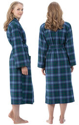 Model wearing Green and Blue Plaid Long Robe for Women, facing away from the camera and then to the side image number 1
