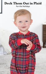 Infant wearing Stewart Plaid Infant Onesie Pajamas with the following copy: Deck Them Out in Plaid for the Holidays. image number 2