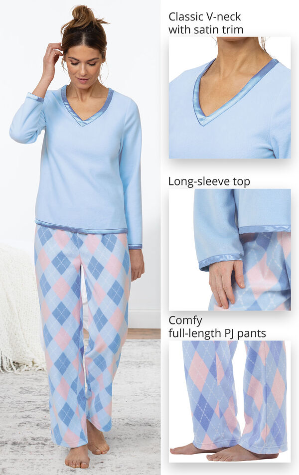 Close-ups of Argyle Snuggle Fleece Pajamas - classic V-neck with satin trim, long-sleeve top and comfy-full length PJ pants image number 3