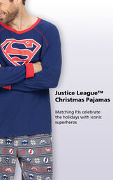 Close-up of Blue and Red Justice League Men's PJ Superman Top with the following copy: Matching PJs celebrate the holidays with iconic superheroes image number 2
