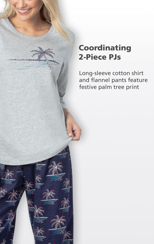 Coordinating 2-Piece PJs - long-sleeve cotton shirt and flannel p ants feature festive palm tree print image number 4