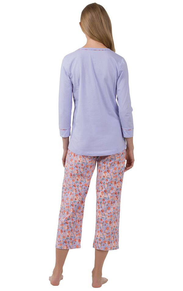 Model wearing Light Purple Floral Print PJ for Women, facing away from the camera image number 1