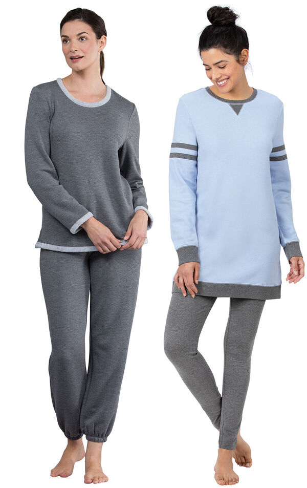 Models wearing Sporty Sweatshirt and Leggings PJ Set - Blue/Gray and World's Softest Jogger Pajamas - Charcoal. image number 0