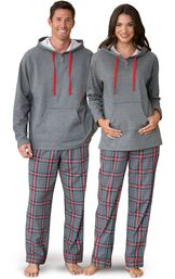 Models wearing Gray Plaid Hooded PJs for Him and Her image number 0