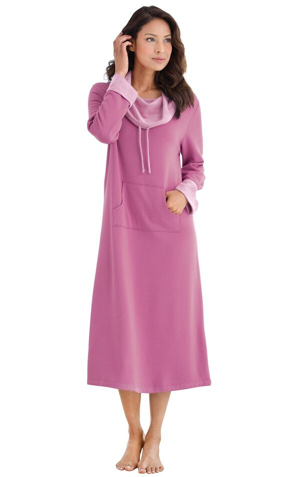 Model wearing World's Softest Raspberry Cowl-Neck Gown for Women image number 0