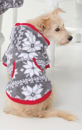 Dog wearing Gray and White Nordic Fleece Hoodie-Footie for Dogs, facing away from the camera image number 2