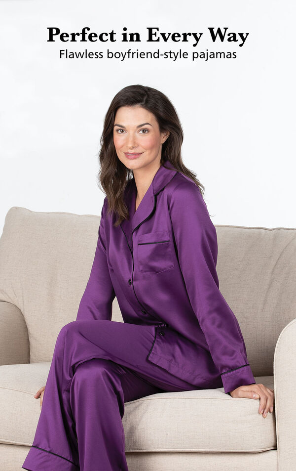 Model wearing Satin Pajamas with Piping - Purple with the following copy: Perfect in Every Way. Flawless boyfriend-style pajamas image number 2