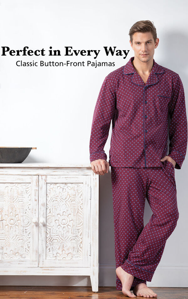 Model wearing Deep Red Print Button-Front Pajamas with the following copy: Perfect in Every Way image number 2