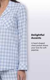 Delightful Accents - A heart-shaped chest pocket shows your love for soft pajamas image number 4