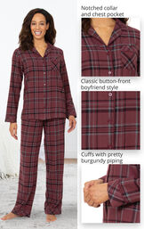 Burgundy Plaid Boyfriend Flannel Pajamas image number 3