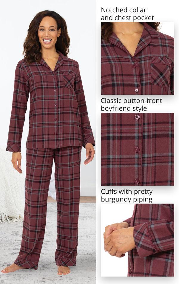 Burgundy Tartan Cotton Pyjamas PJs Bag