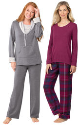 Models wearing World's Softest Flannel Pullover Pajamas - Black Cherry Plaid and World's Softest Pajamas - Charcoal.