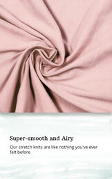 Light Pink fabric swatch with the following copy: Our stretch knits are like nothing you've ever felt before image number 4