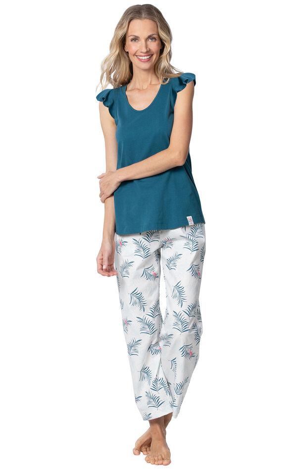 Model wearing Blue and White Margaritaville Capri PJ for Women image number 0