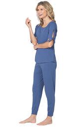 Model wearing Blue Tie Sleeve Jogger PJ for Women image number 0