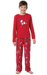 Model wearing Red Snoopy and Woodstock PJ for Kids