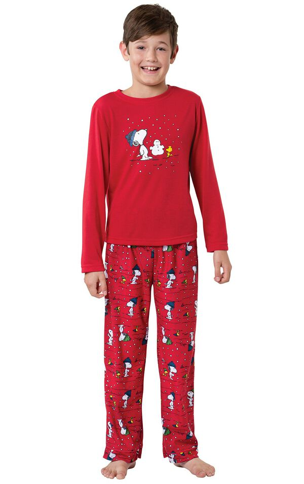 Model wearing Red Snoopy and Woodstock PJ for Kids image number 0