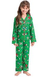 Model wearing Green Charlie Brown Christmas PJ for Girls