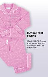 Button-Front Girls Pajamas - Lavender Polka Dot image number 3