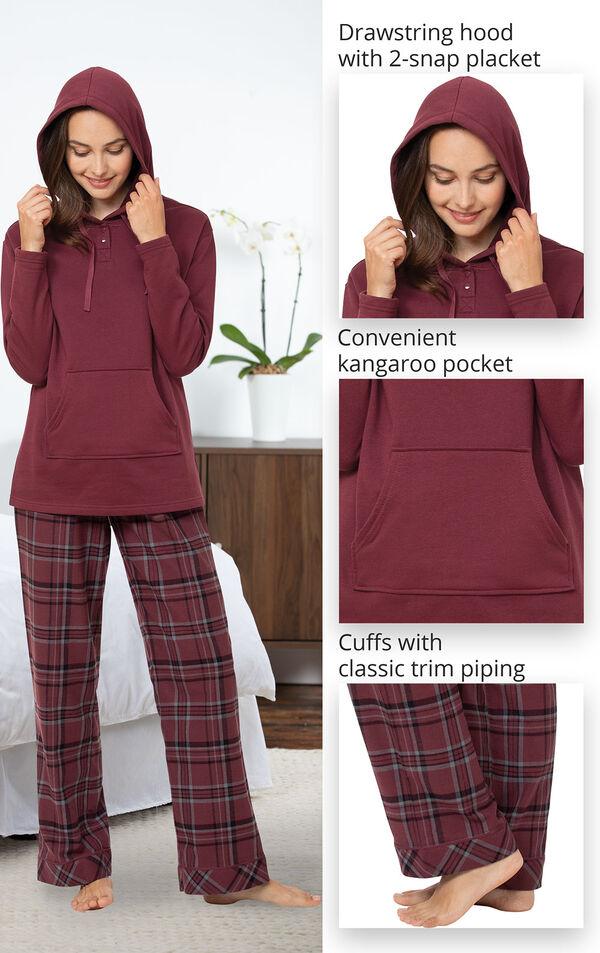 Burgundy Plaid Hooded Women's Pajamas image number 3
