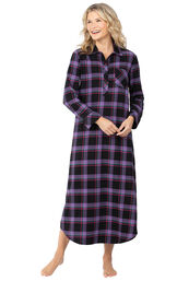 Model wearing Black and Purple Plaid Gown for Women image number 0