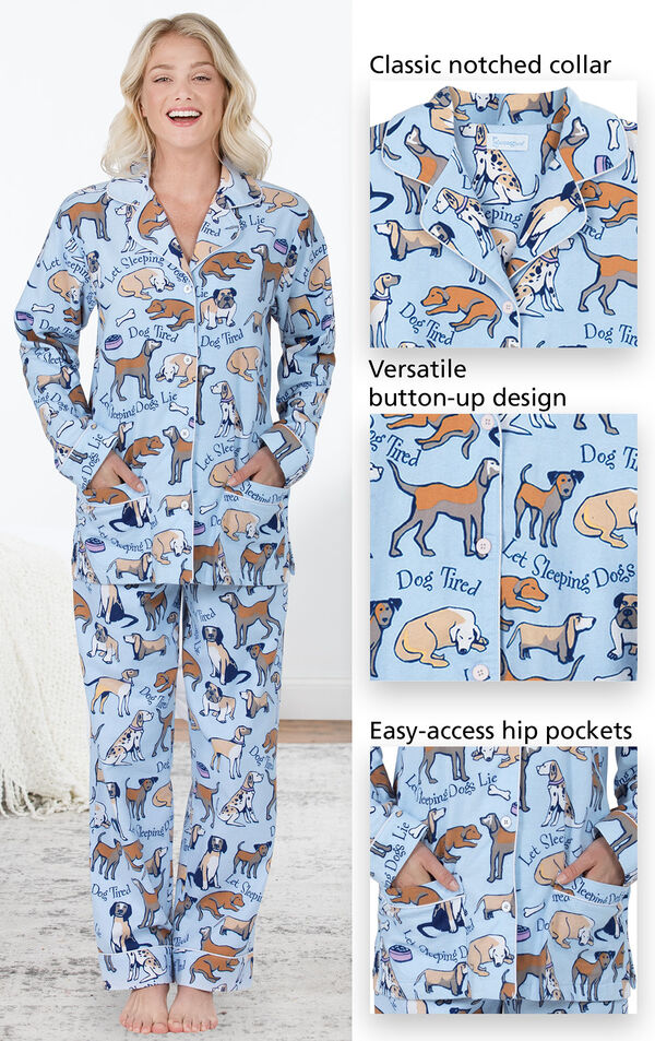 Close-ups of the features of Dog Tired Boyfriend Flannel Pajamas which include a classic notched collar, versatile button-up design and easy-access hip pockets image number 3