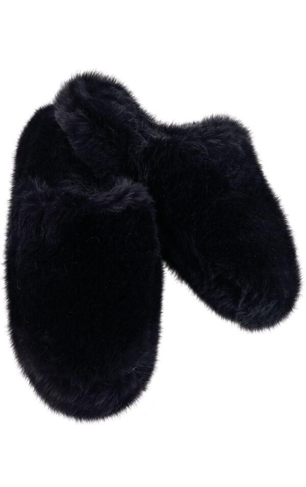 Model wearing Fuzzy Wuzzies Slipper - Black image number 0
