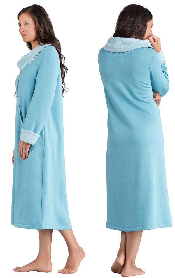 Model wearing World's Softest Teal Cowl-Neck Gown for Women, facing away from the camera and then to the side image number 1