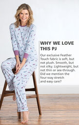 Model sitting on a stool wearing Feather Touch PJs with the following copy: Why We Love This PJ: Our exclusive Feather Touch fabric is soft, but not plush. Smooth, but not silky. Lightweight, but not thin or see-through. Did we mention the four-way stretch image number 2