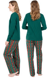 Model wearing Red and Green Christmas Tree Plaid Thermal Top PJ for Women, facing away from the camera and then to the side image number 1