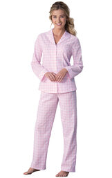 Model wearing Pink and White Gingham Button-Front PJ for Women image number 0