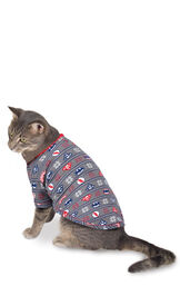Model wearing Red and Blue Justice League PJ for Cats