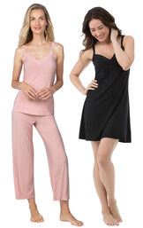 Models wearing Naturally Nude Capri Pajamas - Pink and Naturally Nude Chemise - Solid Black.