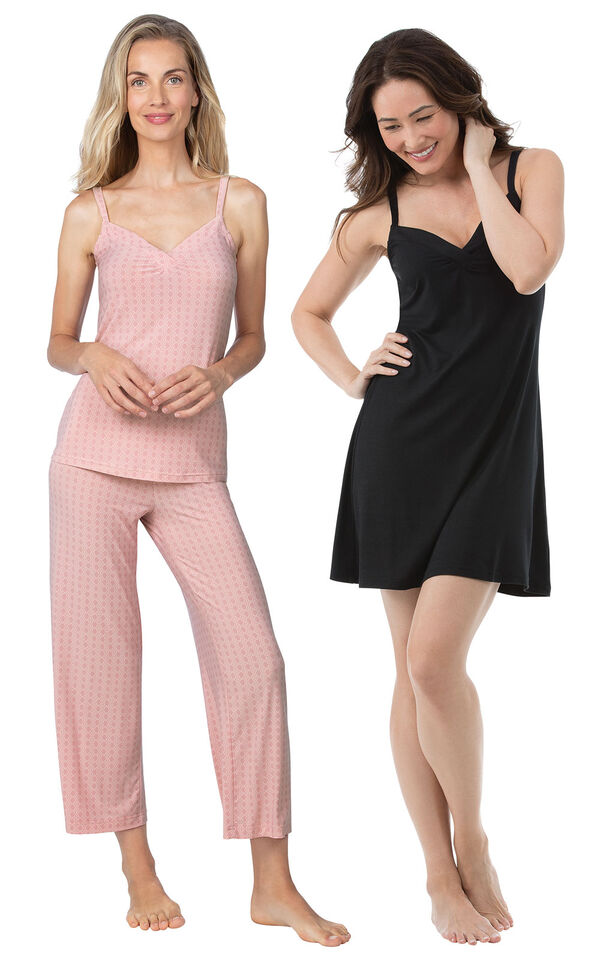 Models wearing Naturally Nude Capri Pajamas - Pink and Naturally Nude Chemise - Solid Black. image number 0