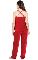 Model wearing Red Velour Cami PJ with Satin Trim for Women, facing away from the camera image number 1