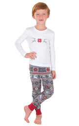 Model wearing Red and Gray Fair Isle PJ for Kids