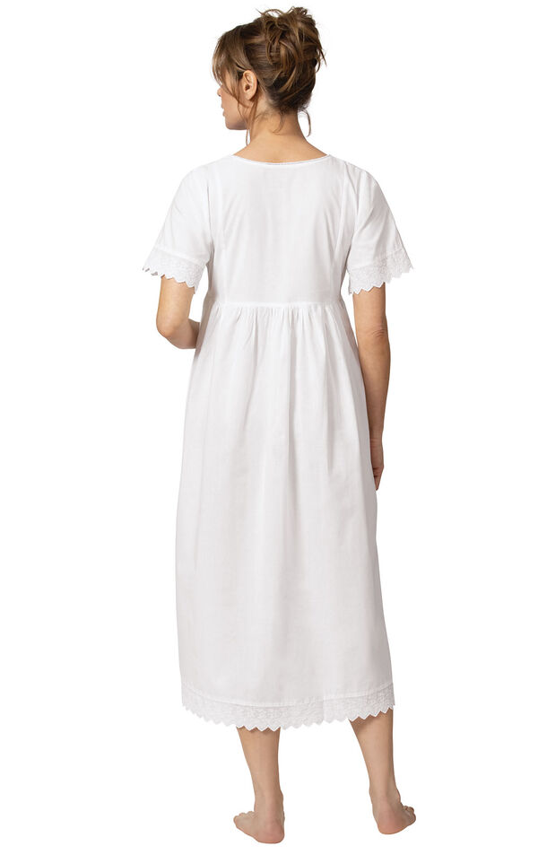 Model wearing Helena Nightgown in White for Women, facing away from the camera image number 1