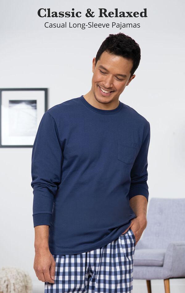 Blue Gingham PJ for Men image number 2