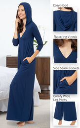 Navy Blue Jumpsuit PJ features a cozy hood, flatter v-neck, side seam pockets and comfy wide leg pants image number 4
