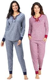 Models wearing Addison MeadowJogger PJs - Blue and Addison MeadowJogger PJs - Red image number 0