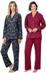 Addison Meadow|PajamaGram Bright Trees and Hearts Flannel Boyfriend PJs