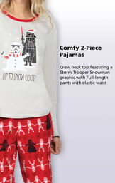 Crew neck top feature a Storm Trooper Snowman graphic with full-length pants with an elastic waist. image number 3