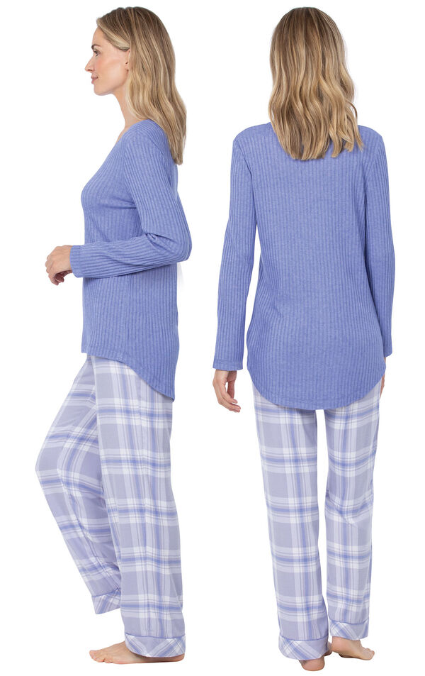 Model wearing Lavender Plaid Thermal-Top PJ for Women, facing away from the camera and then to the side image number 1