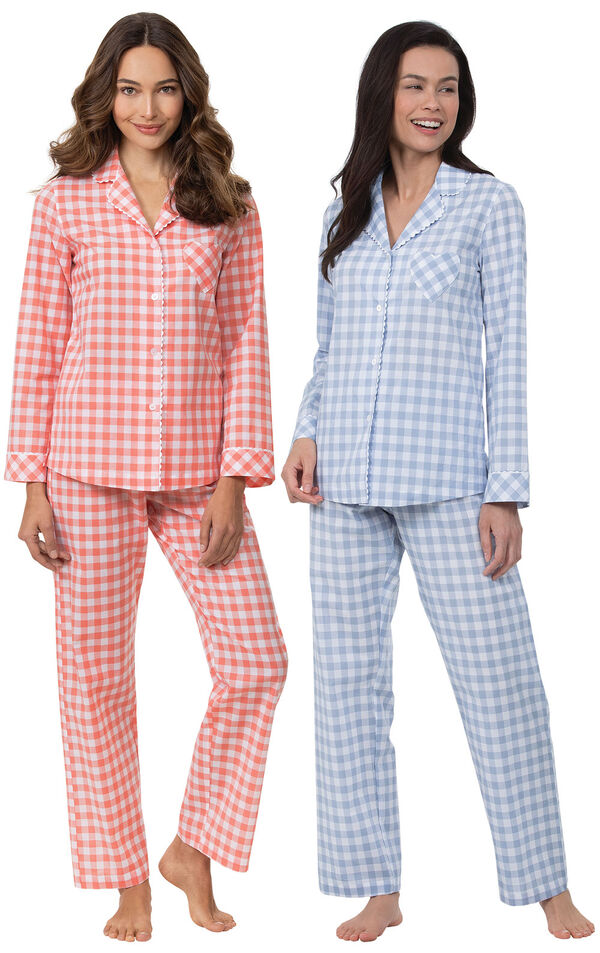 Models wearing Heart2Heart Gingham Boyfriend Pajamas - Coral and Heart2Heart Gingham Boyfriend Pajamas - Periwinkle image number 0