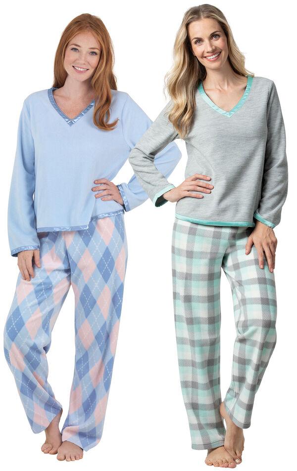 Models wearing Snuggle Fleece Argyle Petite Pajamas and Snuggle Fleece Plaid Petite Pajamas - Aqua. image number 0