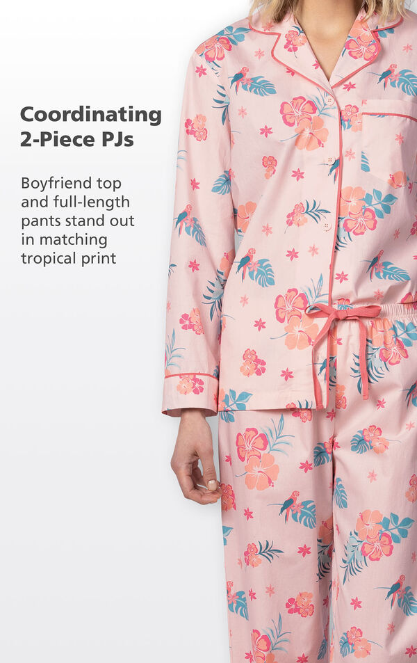 Close-up of Margaritaville Hibiscus Boyfriend Pajamas - Pink coordinating 2-Piece PJs. Boyfriend top and full-length pants stand out in matching tropical print. image number 3