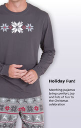 Close-up of Nordic Men's Pajamas Gray graphic top with the following copy: Holiday fun! Matching pajamas bring comfort, joy and lots of fun to the Christmas celebration image number 1
